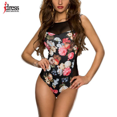 IDress Factory Direct Wholesale Sexy Yellow Black Floral Print  Bodycon Rompers Womens Jumpsuit Fitness Jumpsuits for Women 2017