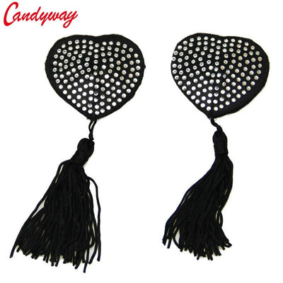 Sexy Women Milk Paste 4 Colors Tassel Heart Shape Sequin decorate Paste Breast Bra Nipple Cover Adhesive erotic lingerie Sticks