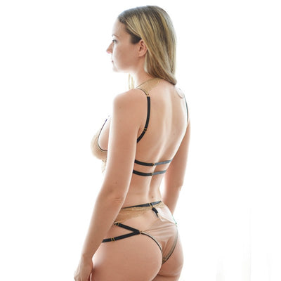 Strappy Bra and Panty Crochet Lace High-neck Bralette Banded Thong Sexy Sheer Lingerie Nightwear