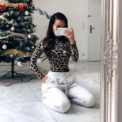 Women Fitness Solid Skinny Long Sleeve turtleneck Leopard Animal pattern Bodysuit Elastic Polyester Slim  Sexy Club Ladies Shirt