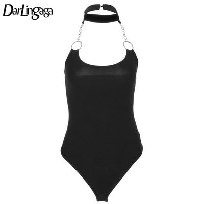 Darlingaga Sexy Backless Ring Chain Patchwork Hater Neck Women Bodysuit 2018 New Summer Bodycon Skinny Open Crotch Slim Bodysuit