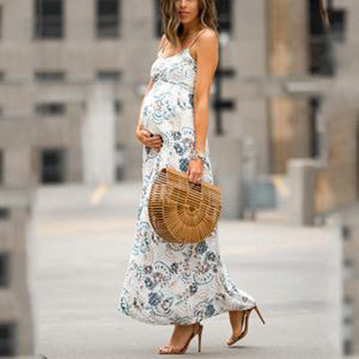vetement femme 2019 Women Sleeveless Sling Maternity pregnancy Dress clothes Floral Print Sundress Sexy Beach ropa de mujer