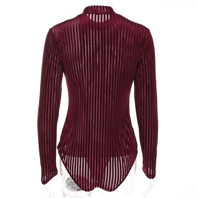 Sweetown Sexy Velvet Turtleneck Bodysuit Women Black Long Sleeve Bodycon Bodysuits Autumn Red Body Mujer Striped Jumpsuit Short