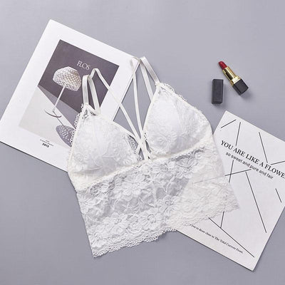 Sexy Bra Women Lace Bralette Strappy Wireless Seamless Padded Bra Femme Lingerie Intimates Plus Size Push Up Bra Women Tops