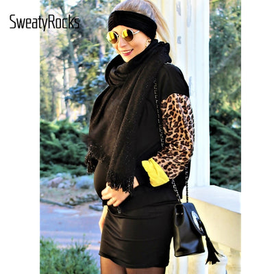 SweatyRocks Black Zip Up Contrast Leopard Sleeve Jacket 2018 Women Autumn Clothes Outwear Coat 2018 Womens Jackets And Coats