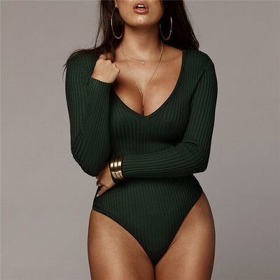 Women Off Shoulder Ribbed Knitted Sexy Bodysuit Women Black V Neck Autumn Slim Rompers Womens Jumpsuit Winter Basic Bodysuits