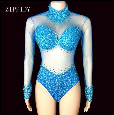 5 Colors Big Stone Mesh Bodysuit Birthday Party Dance Sexy Outfit Nightclub Bar Women Singer Team Costume Rhinestones Clothes