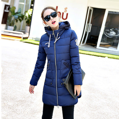 Winter Jacket Plus Size 7XL Women New Europe Style Hooded Slim Medium Long Parkas Lady Top Coat Casual Warm Jaqueta MZ1846