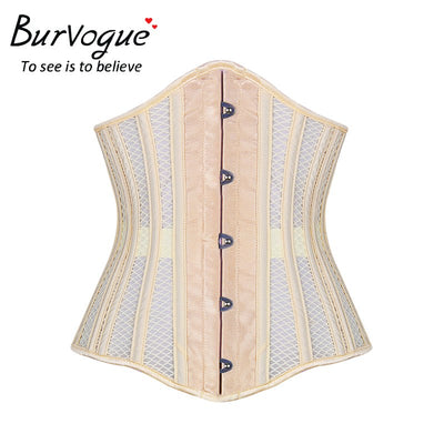 Burvogue New Women's Double Steel Boned Corset Mesh Breathable Waist Control Underbust Sexy Corset & Bustiers for Weight Loss