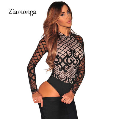 New Sexy Black Lace Bodysuit Women Transparent Mesh Embroidery 2017 Bodycon Jumpsuit Club Wear Macacao Combinasion Femme C2721