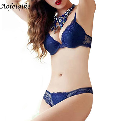 Free shipping 2017 hot Pop transparent floral lace bra & brief sets thin cup sexy deep-V push up women underwear bra set