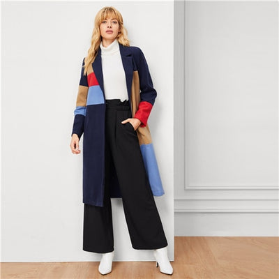 Sheinside Colorblock Pocket Button Longline Coat Women Basics Notched Long Sleeve Single Button Winter Multicolor Outerwear
