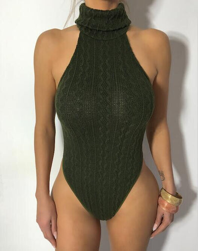 DRESSMECB2018 Clearance Sale  Knitted Sweater Bodysuit Women Sexy Casual Turtleneck Slim Bodycon Playsuit Autumn Winter Overalls