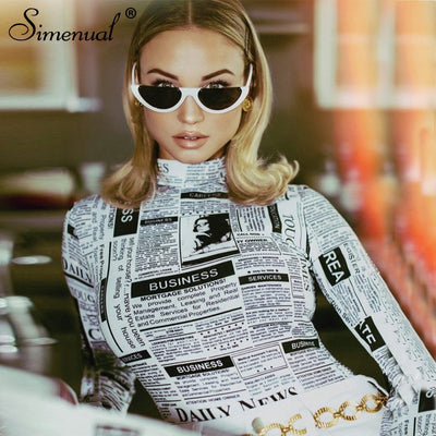 Simenual Turtleneck bodysuit women 2019 long sleeve rompers newspaper printed jumpsuits fitness sexy bodysuits fashion playsuits
