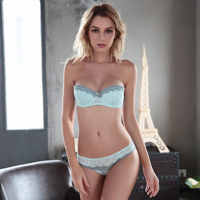 New coming bra set super push up underwear set sexy thin lace removable shoulder strap bra women's bra and panties