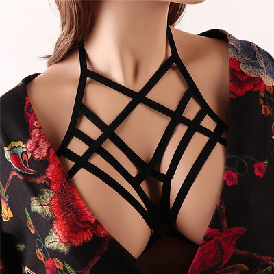 Black body harness Soft Cage bra elastic adjust Tops Bondage harness Lingerie Bdsm Goth Fetish Erotic Full Sexy New Women belt