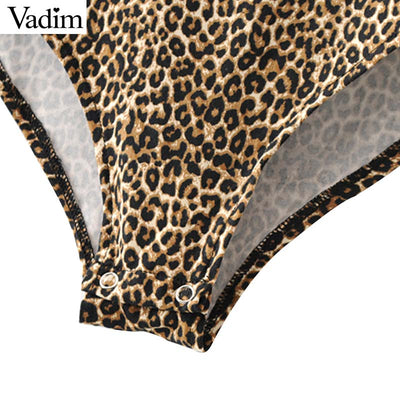 Vadim Sexy slash neck leopard print bodysuits animal pattern long sleeve stretchy playsuits vintage female casual top KA492