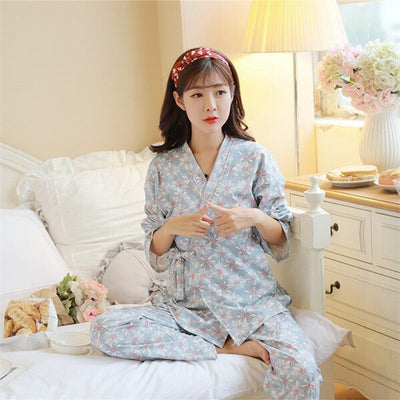 1276# Floral Printed Cotton Maternity Nursing Pajamas Sexy V Neck Breastfeeding Sleepwear for Pregnant Women Pregnancy Lounge