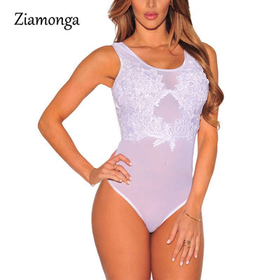 Ziamonga 2017 Summer Jumpsuit Sexy Lace Floral Flower Mesh Bodysuit Women Bodycon Vestidos Ladies Clothing Clubwear Rompers 2856