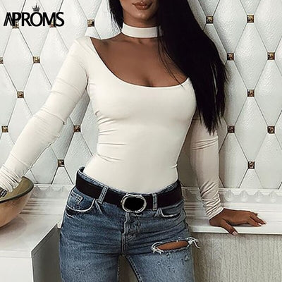 Aproms Sexy Skinny Bodysuit Solid Long Sleeve Bodysuit Black Mid Waist Irregular Neck Autumn Casual Bodysuits for Women Clothing