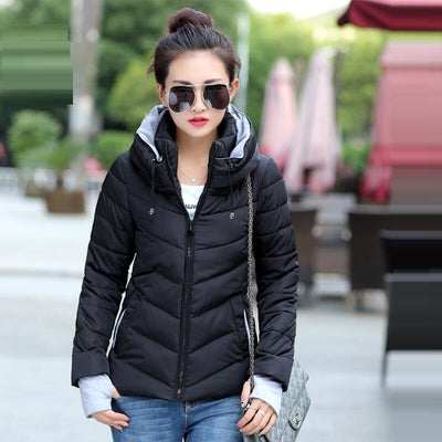 Autumn Winter Female Jacket 2018 Fashion Women Parka Hooded Winter Jacket women Down Cotton Coat Female slim Winter Coat