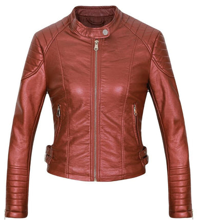 Women's Winter Brown bomber motorcycle Leather jackets