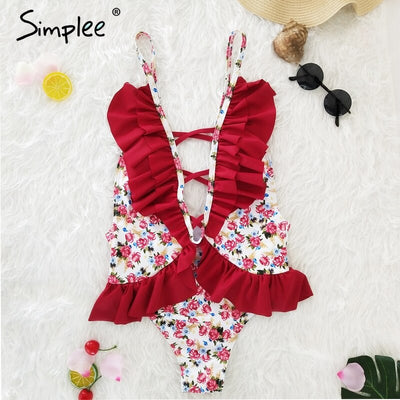 Simplee Lace up floral print one piece women swimsuit Ruffle backless sexy push up bodysuit Summer beach wear female playsuit