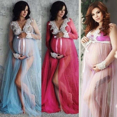 New Women Maxi Pregnant Maternity Dress Photography Fancy Props Dresses  Lace Long Dress Gown Photography Prop Dress