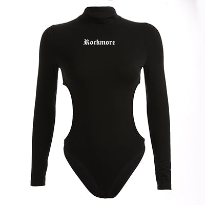 Rapwriter Sexy Side Hollow Out Waist Turtleneck Cotton Bodysuits Women 2019 Spring Long Sleeve Stretch Open Stretch Bodysuit