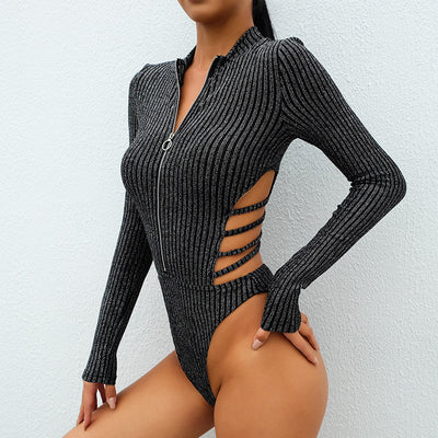 Silver/Golden Striped Glitter Bodysuit Women Back Criss Cross Hollow Out Body Mujer Backless Sexy Long Sleeve Bodysuits