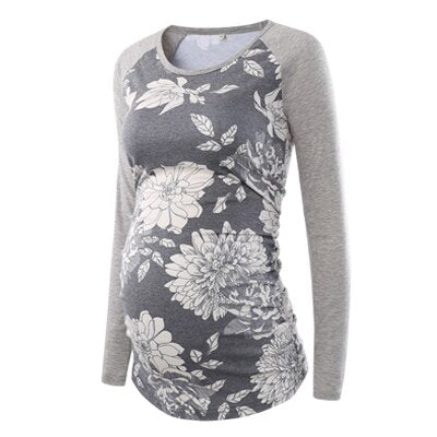 Pregnancy Baseball Crew Neck Raglan Sleeve Blouse Side Ruched Long Sleeve Maternity T Shirt Floral Top Pregnant Gift  Shirt