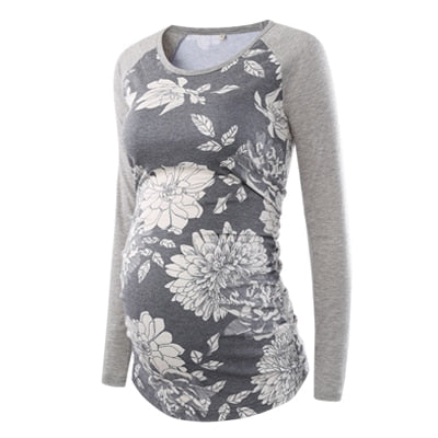 Women's Blouse Maternity Clothes Side Ruched Long Raglan Sleeve Maternity Scoop Neck Jersey Floral Top Pregnancy Women Tops