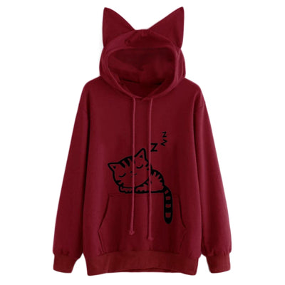 Lovely Cat Ear Women Hooded Coat Sweatershirt Cat Printed Autumn Long Sleeve Pullovers Female Casual Outwear