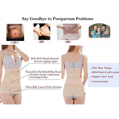 Miss Moly 3 in 1 Postpartum Support Recovery Belly Wrap Waist/Pelvis Belt CIncher Body Shaper Maternity Postnatal Shapewear Set