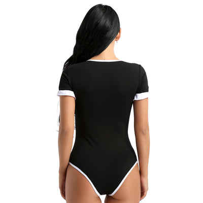 Women Short Sleeves Bodysuit Sexy Cosplay Bodysuits Adult Baby Diaper Lover Snap Crotch Soft Cotton Polyester One Piece Romper