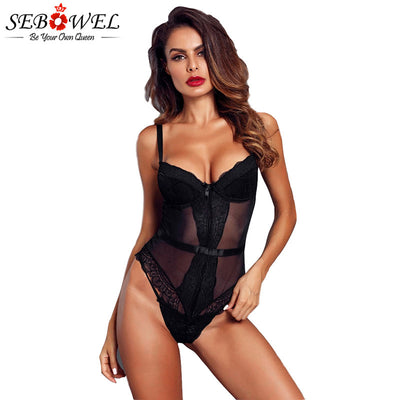 SEBOWEL Sexy Black Sheer Lace Womans Bodysuit with Cups Summer Female Sleeveless Transparent Body Top Clothes Lady Bodysuits