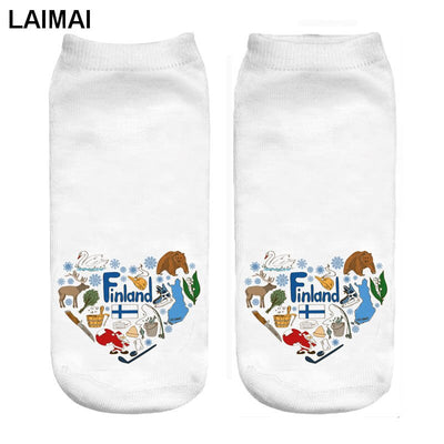 finland love 3d print funny maternity socks wholesale and dropship
