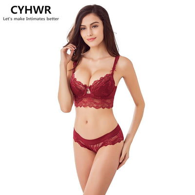 CYHWR New sexy underwear lace Embroidery lingerie set Push up bra and panties