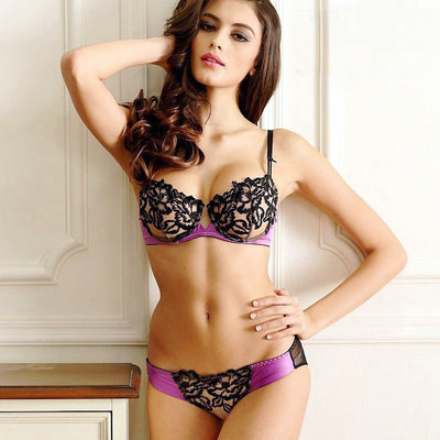 Sexy Lingerie Sets Women Everyday Bra Set Lace Embroidery Underwear Adjustable Unlined Push Up Womens Bras and Underwear Sets