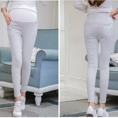 Maternity Belly Stripe Pants Causal Trousers for Pregnancy Clothing Summer Spring  Clothes for Pregnant Women B0093
