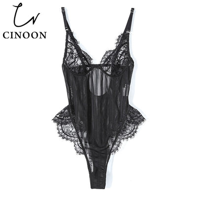 CINOON New Sexy Bodysuit Women Perspective hollow out jumpsuit Lace mesh playsuit Backless Strap slim Comfortable Romper