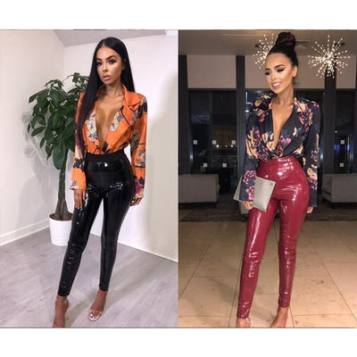 Yissang Slim Floral Printed Bodysuit Women Sexy V Neck Long Sleeve Rompers Short Jumpsuit 2018 Summer Festival Women Bodysuits