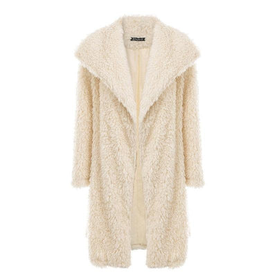 Women's elegant warm winter faux fur coat