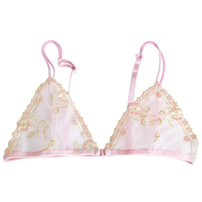 Women's Bra Thin Mesh Sexy Pink Lingeire Lace Bralette Triangle Front Closure Floral Unline Bras Embroidery 3 Colors Plus Size