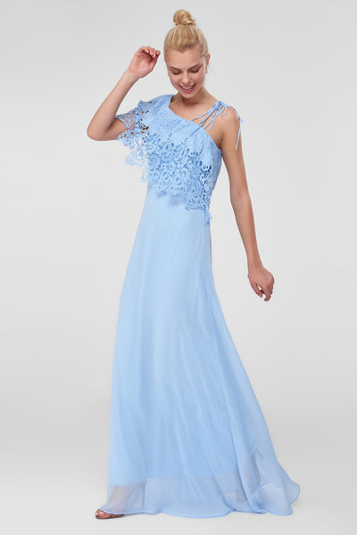 Trendyol Detailed TPRSS18LL0062 Blue Lace Evening Dress