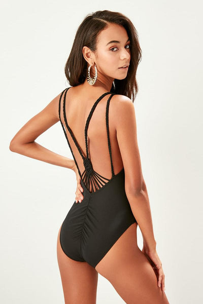 Trendyol Black Tread Makromeli Swimwear TBESS19CH0096
