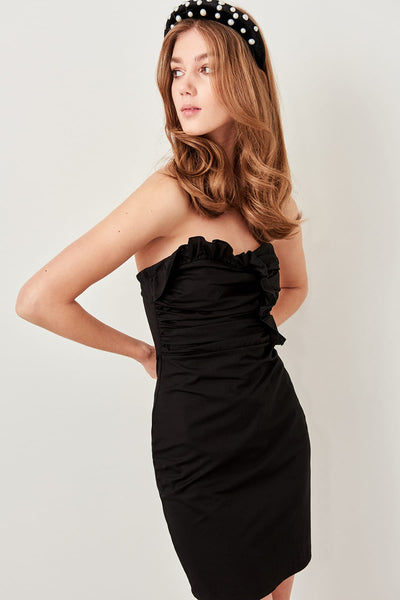 Trendyol Black Drape Detail Dress TPRSS19FZ0073