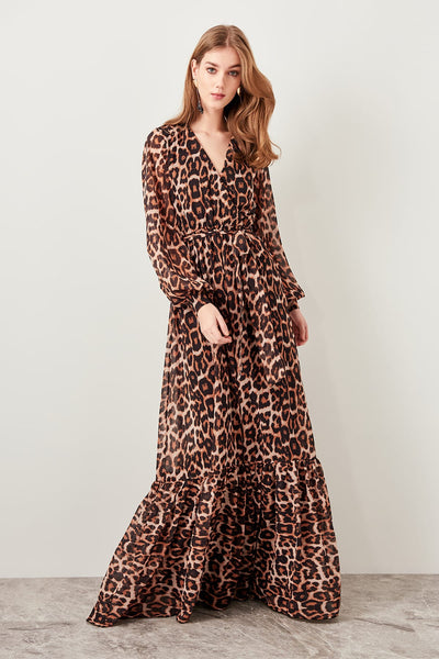 Trendyol Brown Leopard Pattern Evening Dress TPRSS19FZ0200