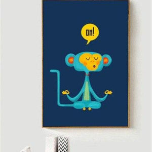 Yoga Monkey Canvas Painting