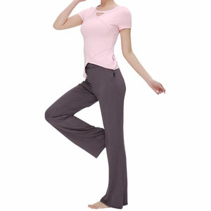 Irregular Parting Line Suit Women Yoga Top And Trousers